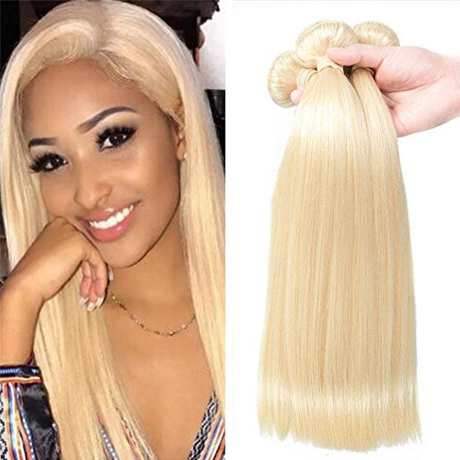 2019 Platinum Blonde Brazilian Virgin Hair Silk Straight 613 Blonde