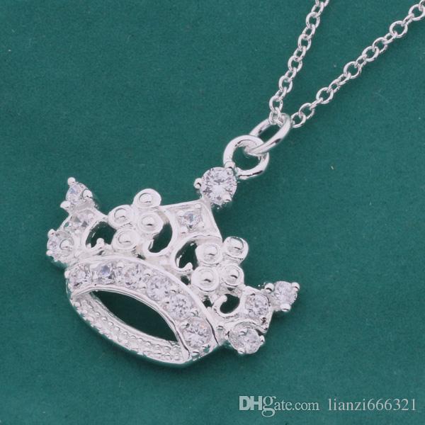 Livraison gratuite avec numéro de suivi Best Most Hot vente Femmes Delicate Gift Jewelry Collier en argent 925 couronne impériale
