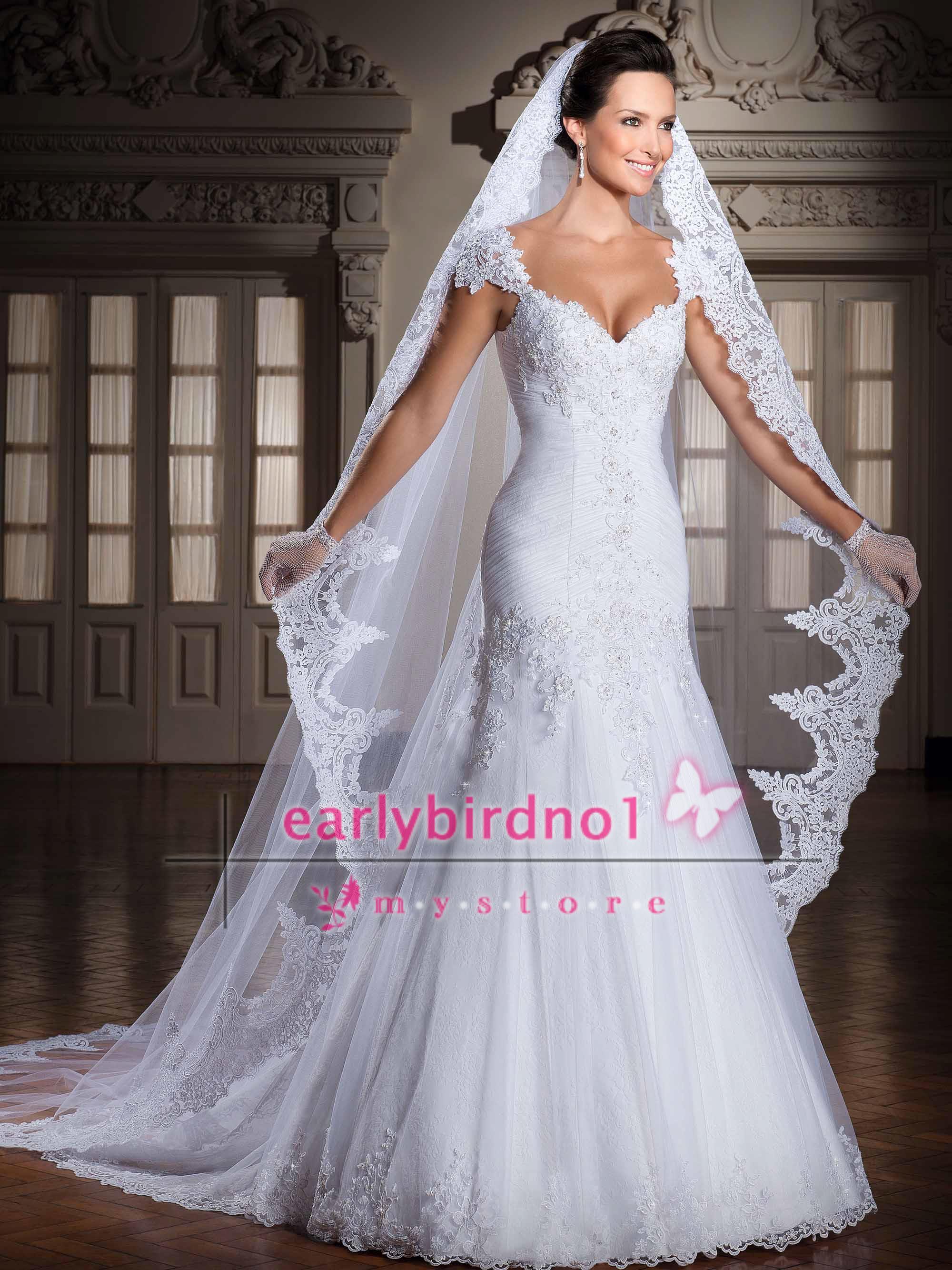На заказ старинные длинные тюль свадебные платья вуали один слой аппликация кружева свадебные вуали красивые, как показано на рисунке кружева аппликация края