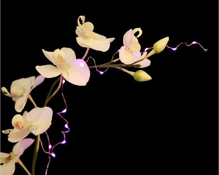 Hohe Qualität 2 Meter Silber Draht 20 LED Weihnachtsbaum Blumenvase Dekoration Lichterketten Für Hochzeit Dekorationen