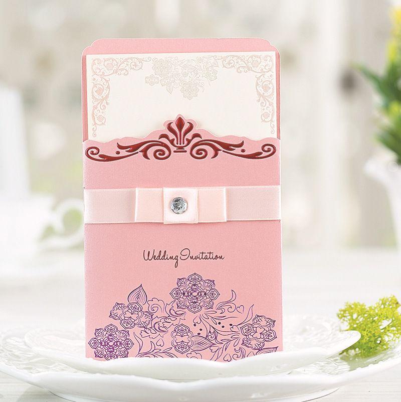 2015 Purple Pink Chinese Wedding Invitations Cards Wedding Favors Free  Envelope Blank Inner Sheet Wedding Accessories 12 PCS Free ShippingLH