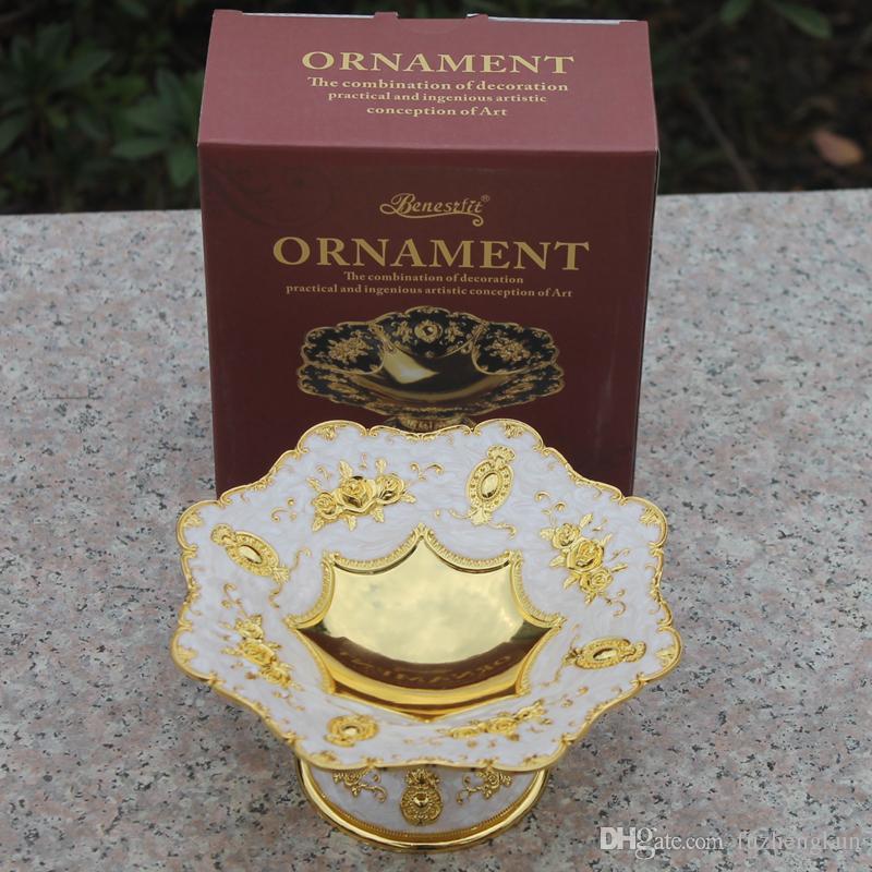 2016 neue elegante luxus vergoldet getrocknete obstteller snack tray home nussschale