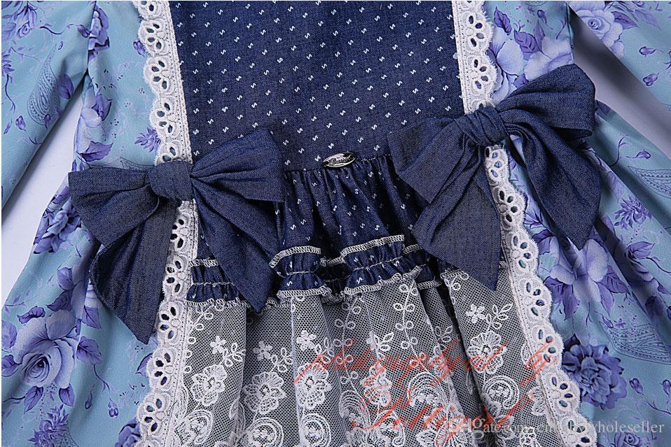 Pettigirl Venta caliente Nuevo vestido de niña de otoño Ropa de impresión con encaje Cintura alta Niños Boutique Wear Ropa vintage G-DMGD004-D12
