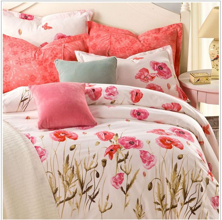 100% Cotton Bedding Set Chic Floral Bed Linen Bedding U003dDuvet Cover+Bed  Sheet+Pillowcase Full/Queen Size Bed Set On Sales Online With $120.22/Piece  On ...