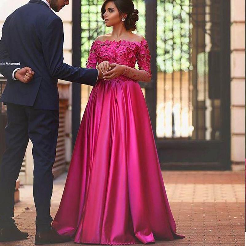 2018 Saudi Arabia Fuchsia Evening Dresses Illusion Long Sleeves Off ...