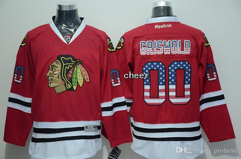 2015 Newest Wholesale Men s Chicago Blackhawks  00 Griswold Red USA Flag Fashion  Jersey Ice Hockey Jerseys 3946e3835
