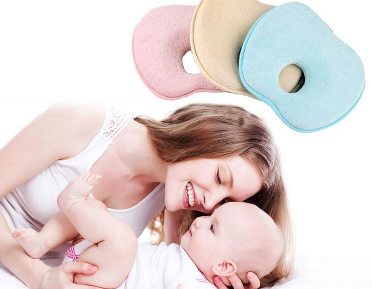 Prettybaby lovely newborn toddler safe anti roll baby infant pillow sleep head positioner preventing flat head apple shape baby pink throw pillows baby
