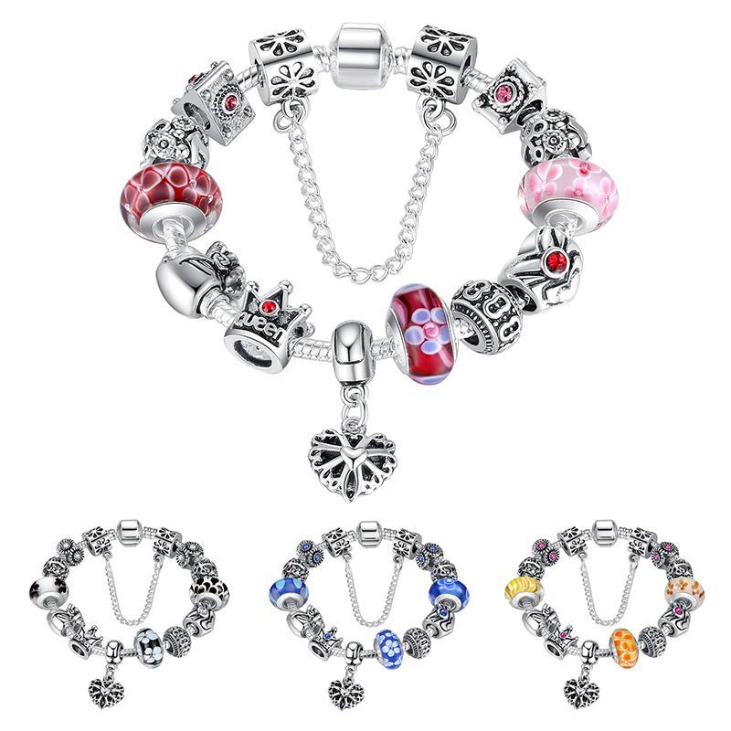 Elegante Charme Pulseiras Munrano Contas De Vidro Coroa de Prata Encantos com Brilhante Cubic Zirconia Coração Dangles Bangles BL078
