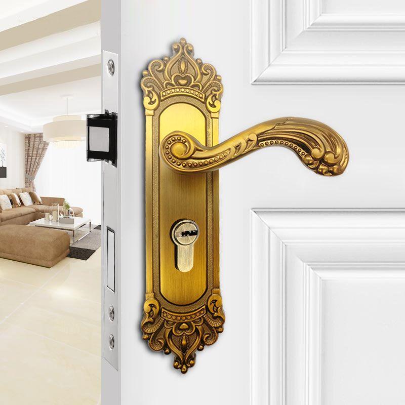 european style door locks yellow bronze retro furniture bedroom door locks universal indoor mute door lock ivory white hardware bedroom door locks indoor - Cheap Bedroom Doors
