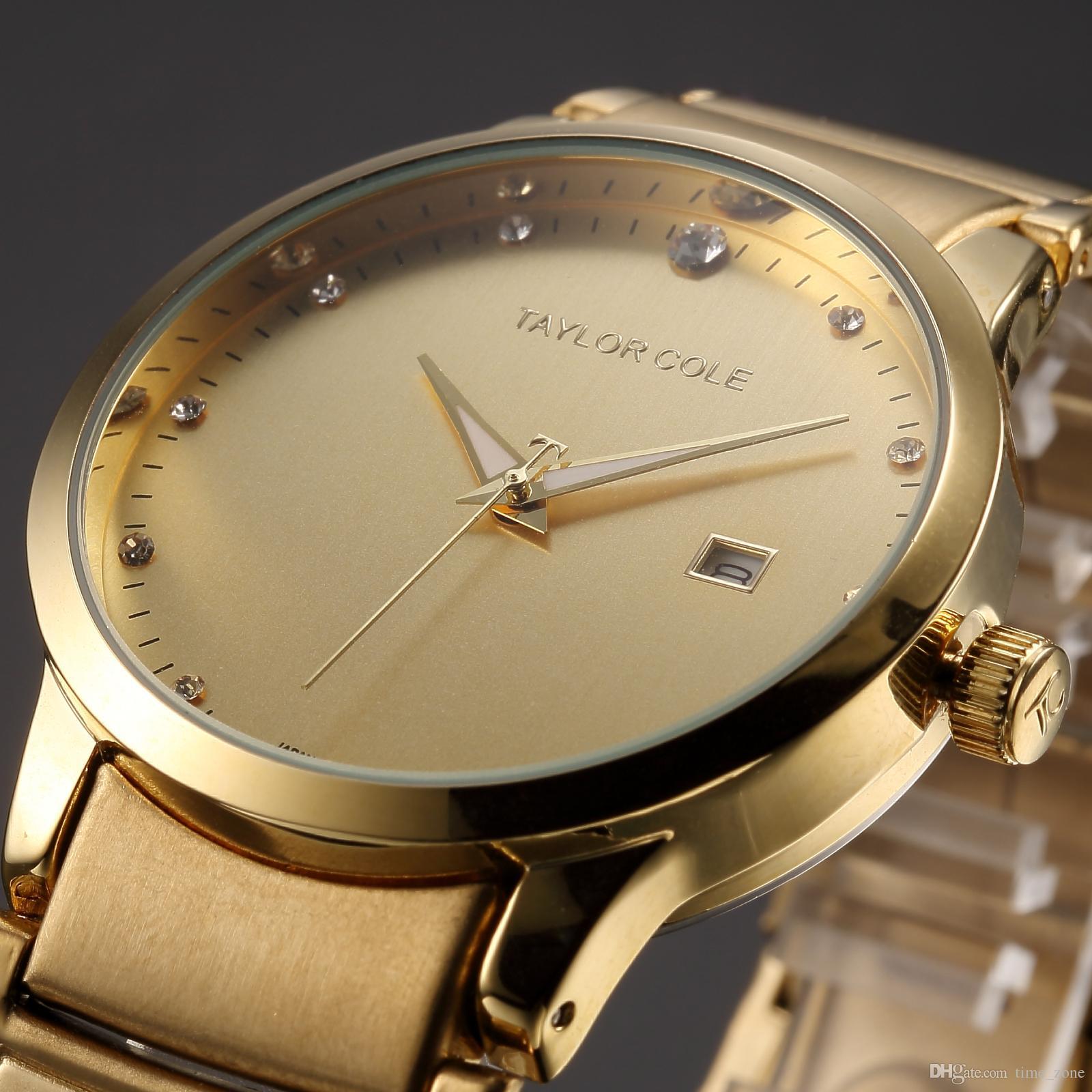 c515109e1e3 Compre Gold Taylor Cole Relógios De Marca De Luxo Relógio Feminino Data  Display Mulheres Relógios Relógios Fashion Casual Quartz Watch   TC020 De  Time zone