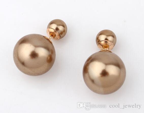 2016 Varmdesign Mode Märke Smycken Primärfärg Dubbel Pearl Stud Örhängen för Kvinnor Gratis frakt