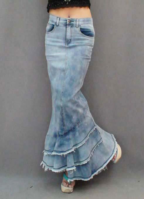 Nouveau Haute Qualité 2013 Jeans De Mode Longue Jupe En Jean Pour Les Femmes Mince Style De Sirène Jupe Taille Haute Avec Des Glands XL