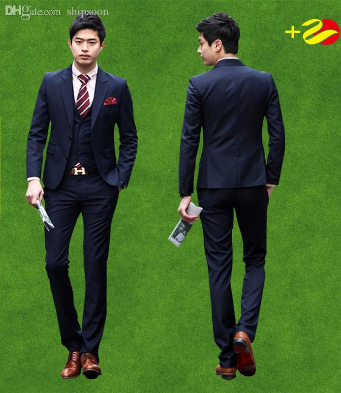 Online Cheap Wholesale Mens Tailor Suit Jacket With Pants Vest ...
