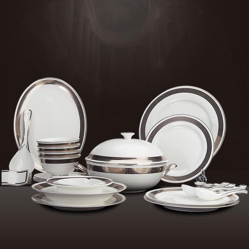 Dinnerware Sets 28 head European luxury white gold inlay porcelain platinum dots bone china tableware ceramics dishes & Dinnerware Sets 28 Head European Luxury White Gold Inlay Porcelain ...