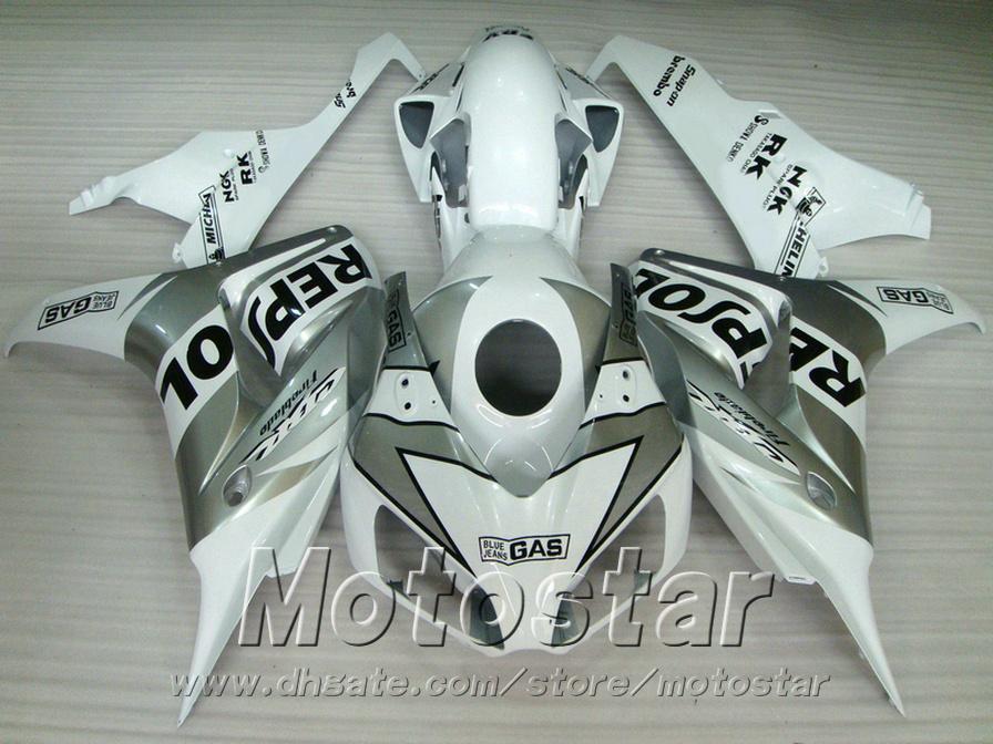 Kit di carenatura ABS HONDA CBR1000RR 06 07 argento bianco Kit di carenature ABS scafo REPSOL CBR 1000 RR 2006 2007 VV9