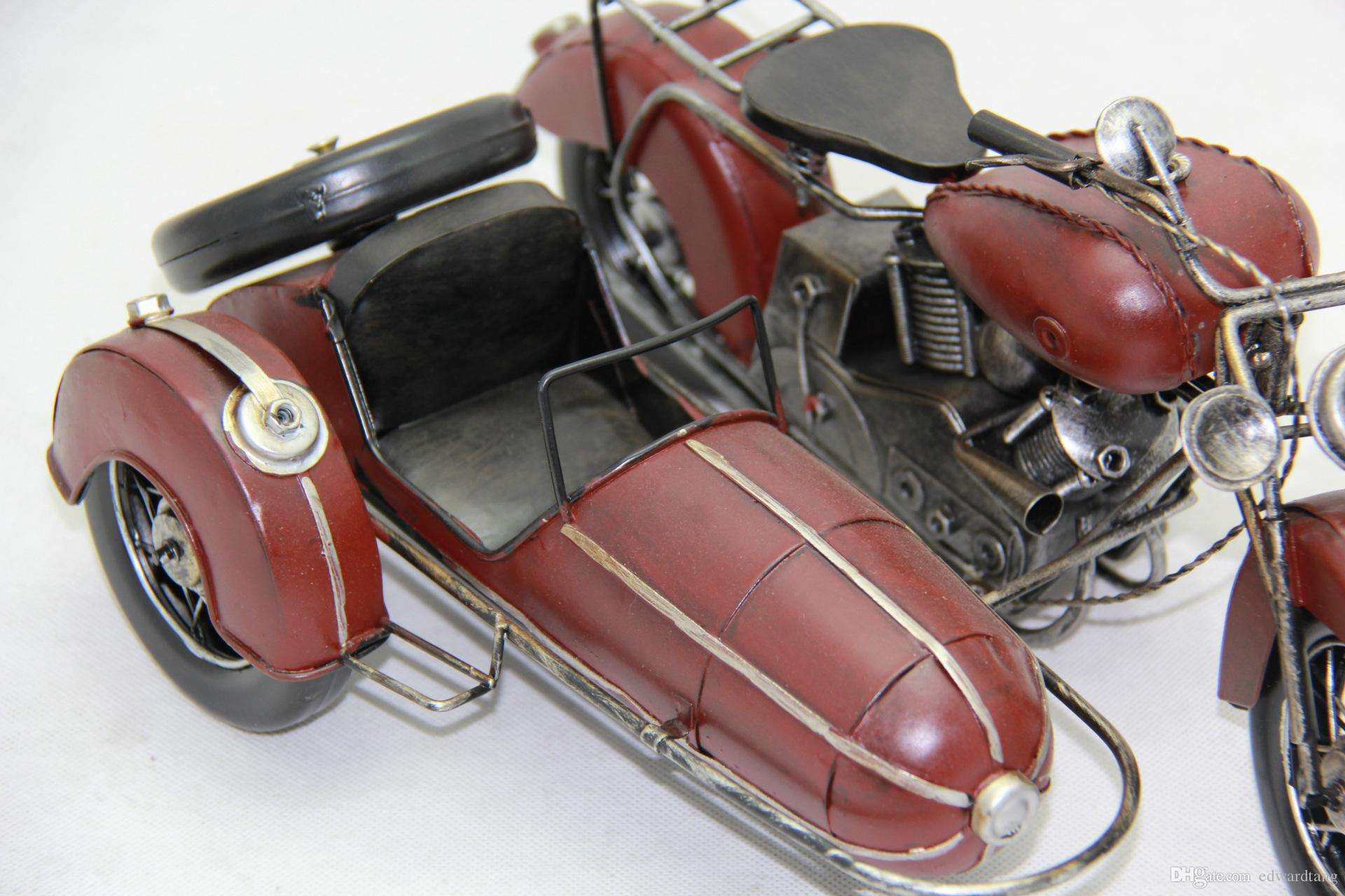 Tinplate Military Motorcycle Model, Hand-made Motor Tricycle Toy, Furniture Decoration, Work of Art , Personalized for Gift, Collecting