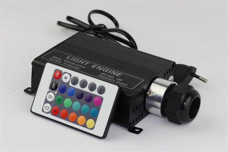 Novelty Lighting LED Fiber Optic Light 16W RGB Multi-Colored Fibre DIY 2m 1.0mm Ceiling Light Engine +24key remote One set Light