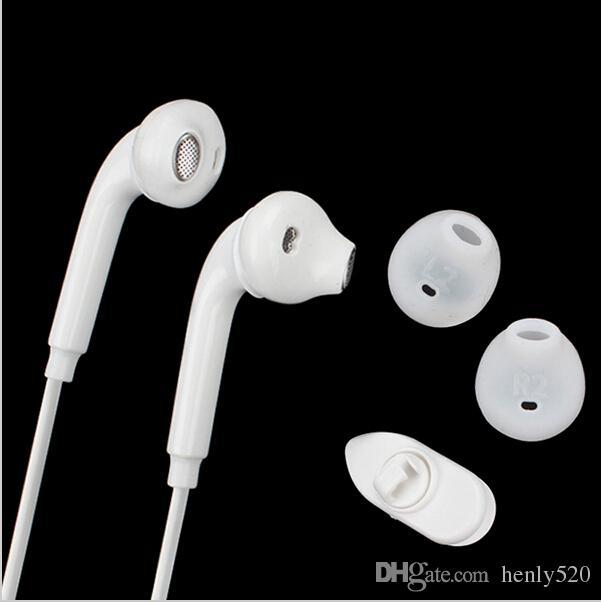 لهاتف Samsung Galaxy S6 سماعة أذن داخل الأذن ستيريو بحجم 3.5 ملم مع ميكروفون للتحكم في مستوى الصوت عن بعد مع صندوق شبكي