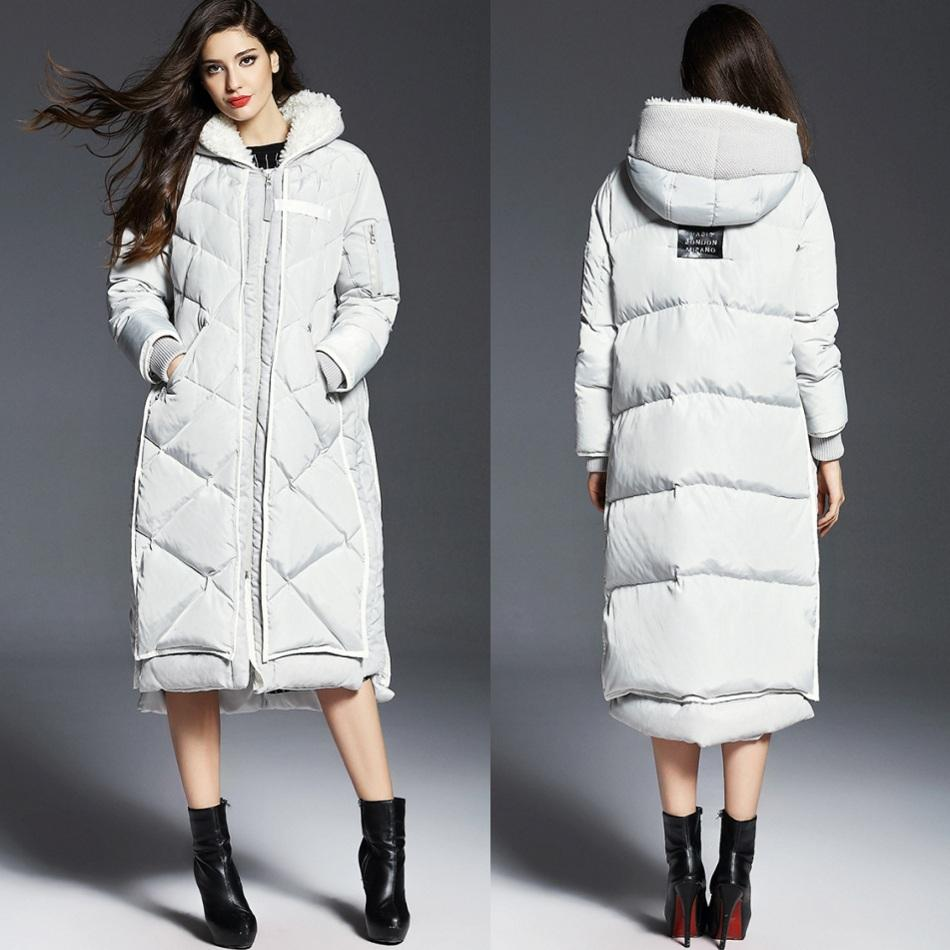 Long down coat for women