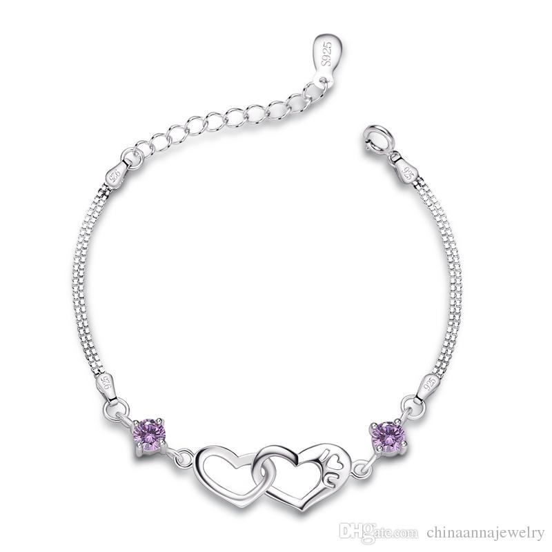 Fine Bracelets Gorgeous Bracelet In 925 Silver Jewelry Rhodium-plated Heart Gift Ladies