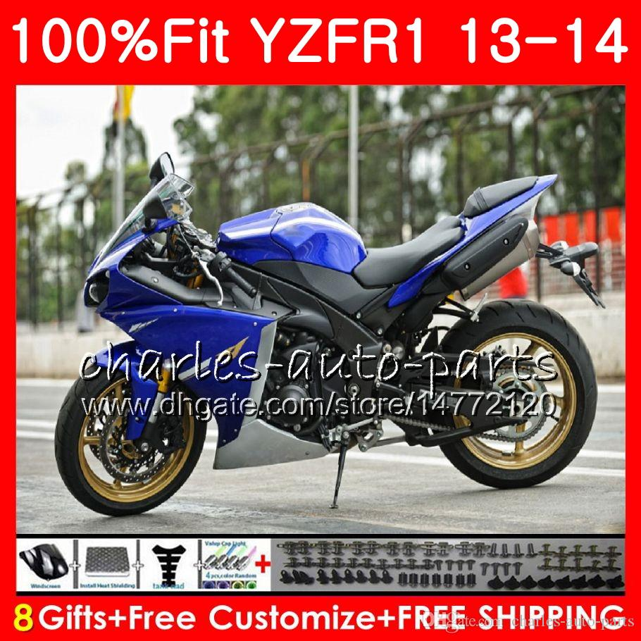 Injection Body For YAMAHA YZF blue black 1000 YZF-R1 13 14 YZFR1 2013 2014 86NO39 YZF R 1 YZF-1000 YZF1000 YZF R1 13 14 Fairing kit 100%Fit