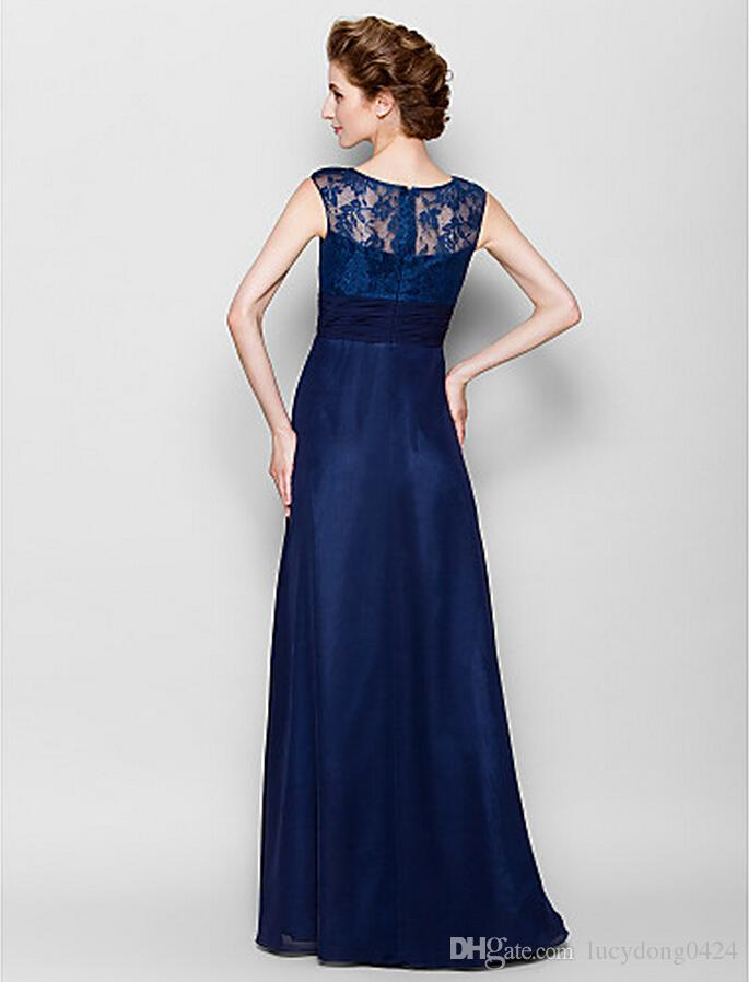 Dark Navy Mother of the Bride Dress Floor-length Sleeveless Chiffon and Lace Scoop Neck Mother's Dresses