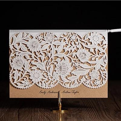 2016 New Personalized Wedding Invitations Cards Kraft Paper With – Blue Wedding Invitation Cards