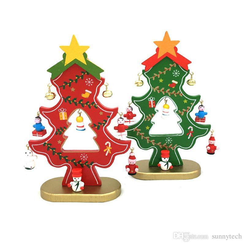 18 cm árbol de navidad de madera con decoraciones colgantes campanas DIY árbol de navidad mesa Mini ornamento regalo envío gratis ZA5226