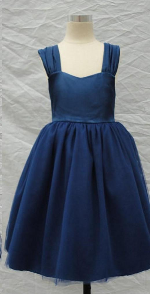 2019 Navy Blue Flower Girl Dresses A Line Straps Backless Big Bow Tea Length Kids Gown for Wedding halloween costumes gowns new design