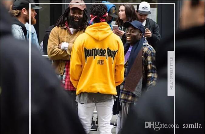 Felpe con cappuccio autunnale Justin Bieber paura del dio Scopo Tour Uomo giallo Donna calda felpa con cappuccio in pile
