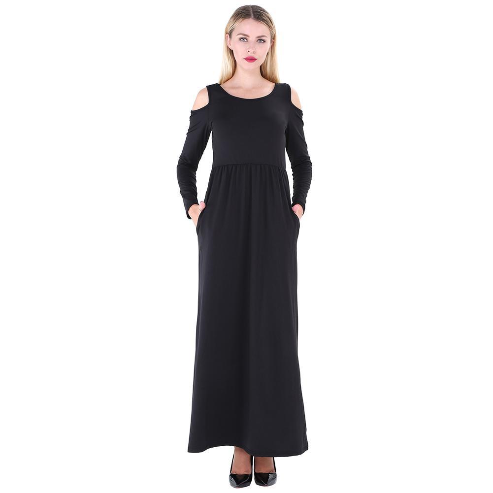 Autumn Maxi Dresses Women T Shirt Dress Solid Off Shoulder High ...