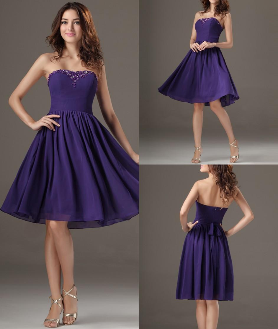 Purple short knee length beaded chiffon strapless cheap plus size purple short knee length beaded chiffon strapless cheap plus size bridal bridesmaid dresses wedding guests dresses bd9412 bridesmaid dresses melbourne ombrellifo Gallery