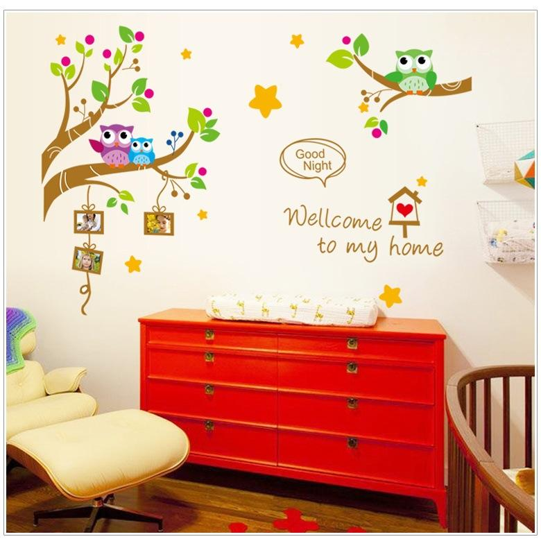 owls Photo Frame in the Tree DIY Wall sticker Home Decor Cartoon Nursery Wall Decals stickers Free Shipping