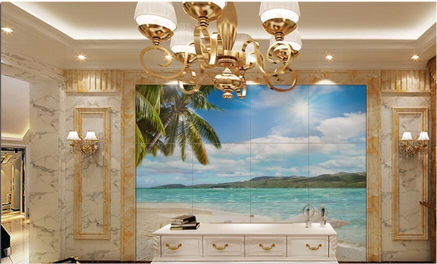 3d room wallpaper custom photo non-woven mural Sunshine coast coconut tree sea scene painting picture 3d wall murals wallpaper for walls 3 d