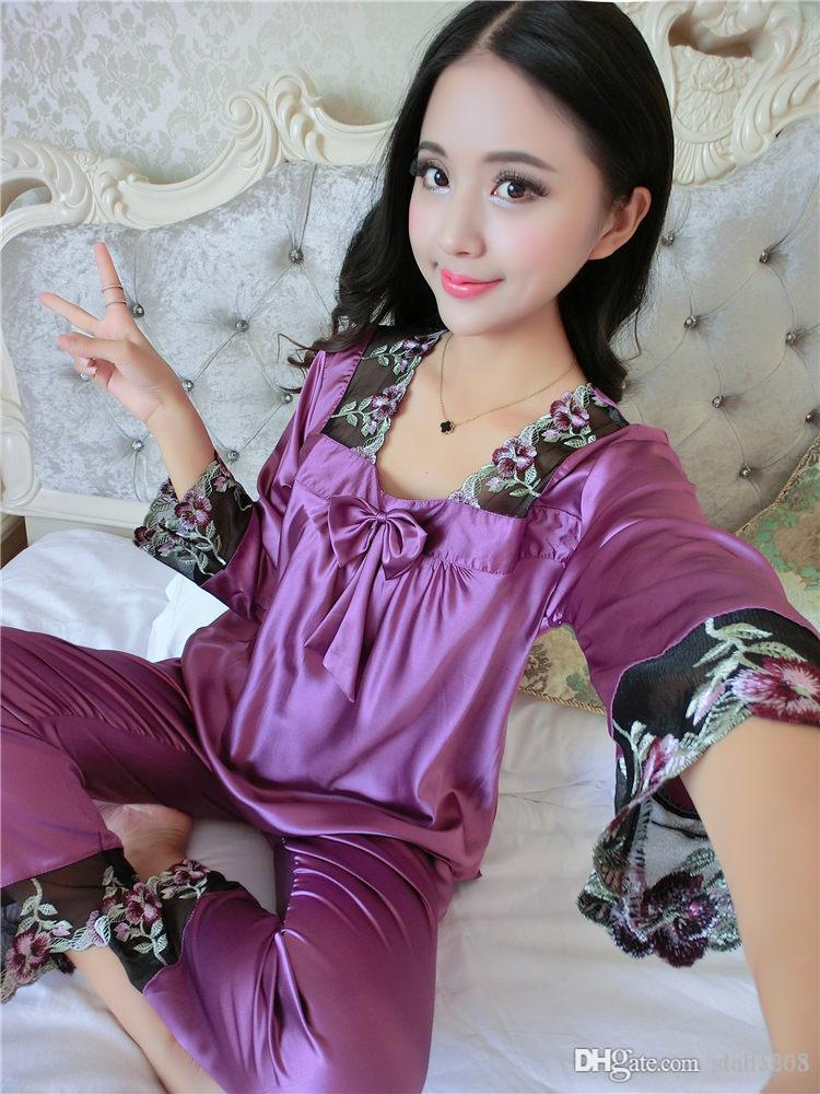 24124d955d 2019 New Style Women Silk Pajamas Sets 2015 Spring Summer Design Elegant  Lace Embroidered Female Satin Pajamas