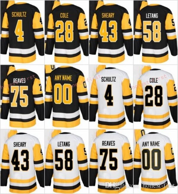 reputable site 38b36 a9111 2018 New Jerseys 58 Kris Letang 4 Justin Schultz 43 Conor Sheary 75 Ryan  Reaves 28 Ian Cole Ice Jerseys Black White