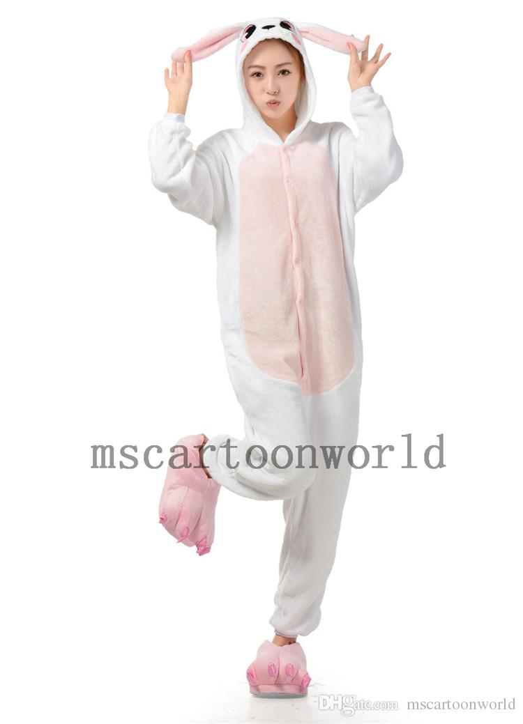 White Rabbit Animal Onesie Fleece Pajamas Onesie Jumpsuit ...