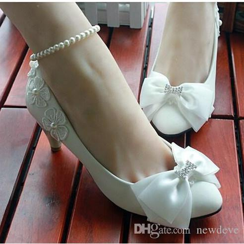 2281c4419b33 Fashion Holy White Wedding Shoes Pear Anklets Applique Bow Rhinestones  Various Heels to Choose Walking Graceful Events Bridal Shoes Wedding Shoes  Bridal ...