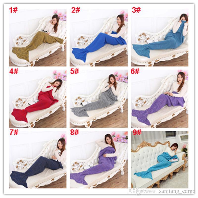 90*50cm Baby Mermaid Tail Blanket Handmade Wave Crochet Knitting Blankets Seasons Warm Living Room Sofa TV Sleeping Bag for Kids Teens 2017