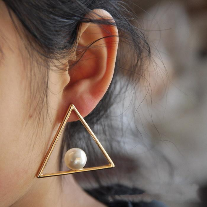 classic women jewelry earring store white popular fashion stud zircon elegant geometry for gold plated product earrings