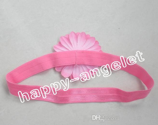 "hair accessories for girls 2"" daisy bows flower baby headband flower with Iridescent stretchy hair band african gele SG8510"