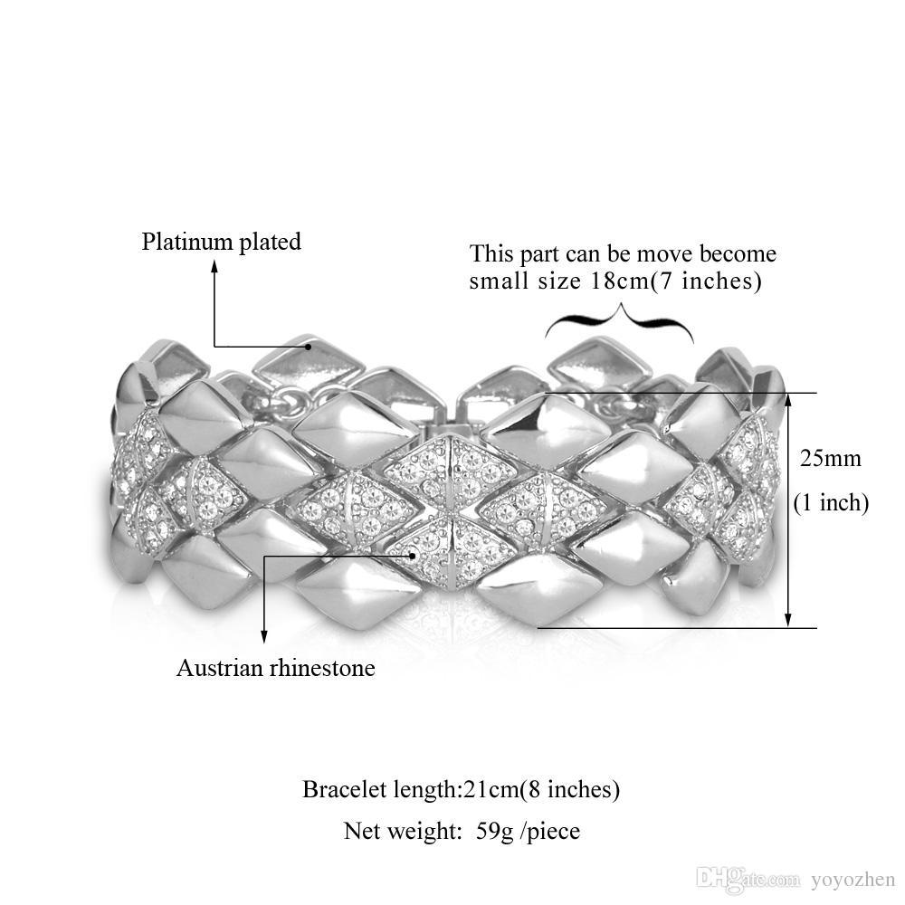 Große Armbänder der Männer 18K Gelbgold überzogene österreichische Rhinestone-Art- und Weiseschmucksache-Armband-Geschenk für Frauen Großhandels-YH5142
