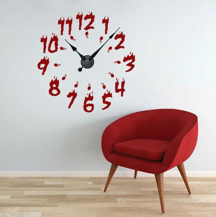 Fire Clock Wall Decals Creative Number Clock Decals Real Clock - Wall decals clock