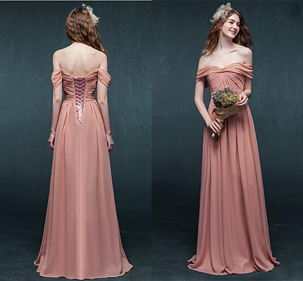 Coral Long Bridesmaid Dresses Off Shoulder Bandage Chiffon Corset ...