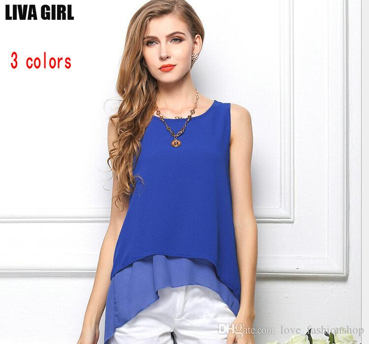 3fb0a15f085 2019 Women Sleeveless Irregular Tiered Chiffon Blouse Ladies European Style Plus  Size Loose Shirts Cheap Girls Blouses Tops White Blue Yellow From ...