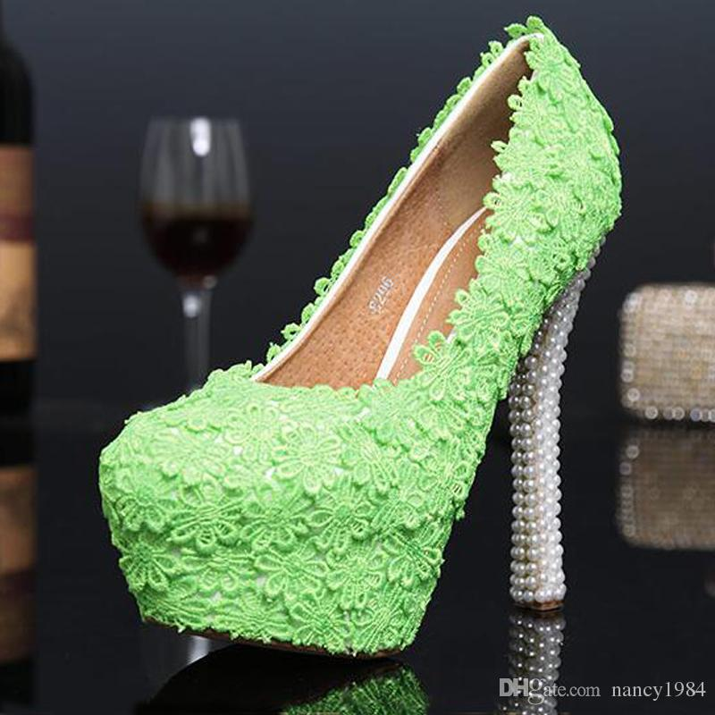 Green Color Evening Party Shoes 2019 Autumn New Design Lace Flower Bridal Wedding Dress Shoes Cheap Bridesmaid Shoes Prom Pumps