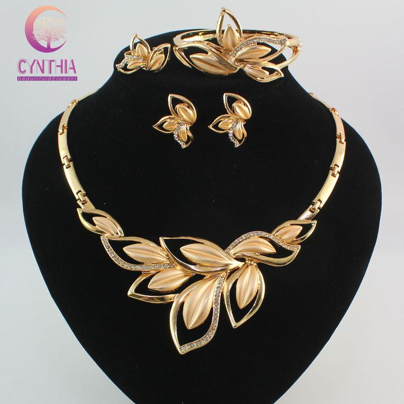 514412b9c51a2 Women Amazing Charming 18K Gold Plated Crystal African Costume Jewelry Sets  Nigerian Dubai wedding Leaves Jewelry Set