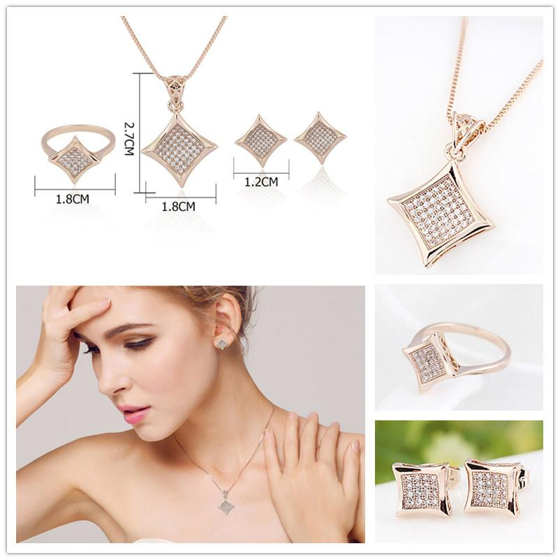 Luxury Beautifully Alloy micro diamond Pendant Necklace Ring Stud jewelry sets For wedding Dress Austrian crystal Jewellery