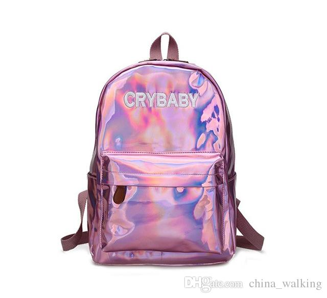 Punk Laser Women Backpack Pu High Quality Bagbacks For School ...