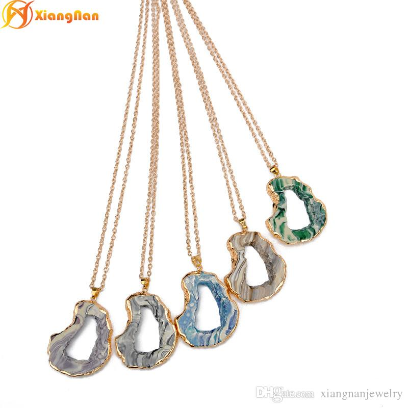 Wholesale Fashion Brand Designer Druzy Necklace Gold Over Silver